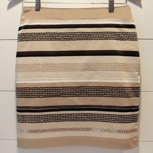 White House Black Market Tan Striped Sequin Skirt